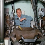 Inside an Apollo command module simulator.